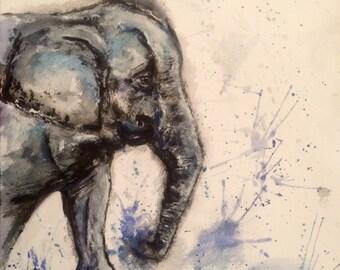 Elephant calf watercolour art