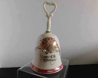 40th Anniversary Bell, Anniversary China Bell, Gold Trim Gift, Porcelain 40th Wedding Anniversary bell, white porcelain gold trim Bell