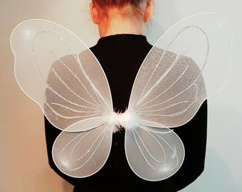 Halloween WHITE Glitter Butterfly Wings, Wand - Christmas, Halloween, Dressing Up, Party & Dressing-up