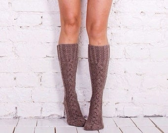 Leg warmers Beige leg warmers Knit knee socks Cable leg warmers Knitted leg warmers Beige knee high socks Cable socks Warm wool leg warmers