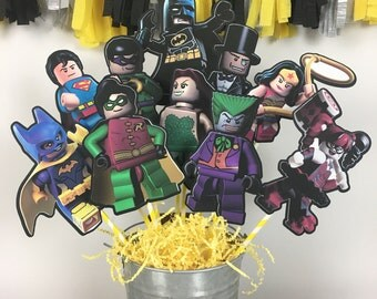 Lego Batman Set of 10 Centerpiece Picks (DOUBLE-SIDED)