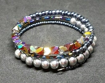 Red, Silver and Metallic Gray Layered Bracelet