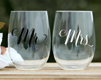 bride and groom wine glasses wedding tumbler bridal wine glass stemless wine glasses