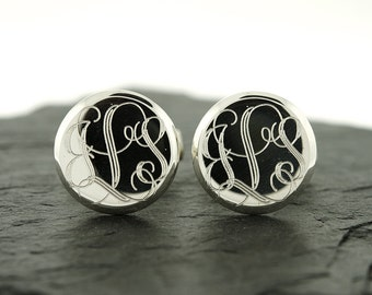 925 Sterling Silver Round Monogram Cuff Links, Personalized Cuff Links, Groomsmen Gifts