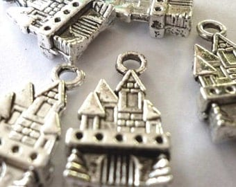 Silver or Bronze Tone Metal Fairy Princess Castle Charms - H111
