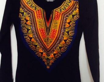 Black long sleeve African dashiki print