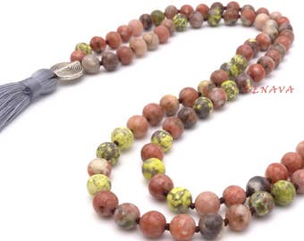 Mala necklace natural stone of Jasper beads pendant tassel colorful long necklace ladies