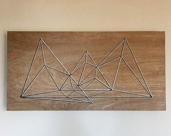Geometric Art, Modern Art, Mid Century Modern Art, Wood Wall Art, Abstract Art, Mountain Art