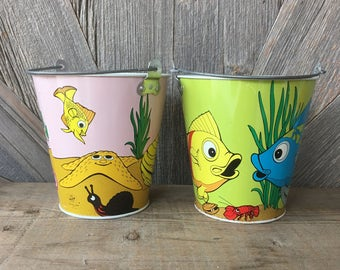 2 Vintage Beach Pails Fish Ocean Seashell Pink Bright Colors {Tin Ohio Art Bryan Bucket} Vintage Kids Room Vase Boho Beach Luau Party