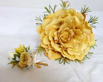 Golden Yellow Glamelia Bridal Bouquet-Glamelia-Composite Silk Flower Bridal Bouquet with Matching Boutonniere-by Floramiagarden