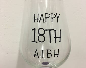 Personalised Birthday Glass Decal - 18th, 21st, 30th, 40th, 50th, 60th, 70th