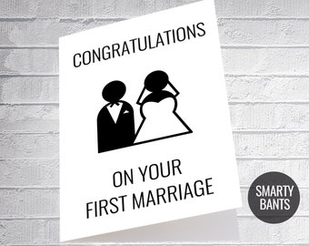 Congratulations on your first marriage funny wedding card banter gift special day couple