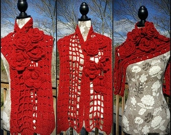 Red Rose Crochet Wrap Scarf