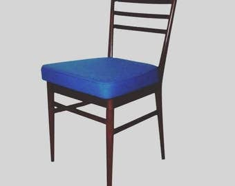 Set of 4 mid-century blue woollen dining chairs