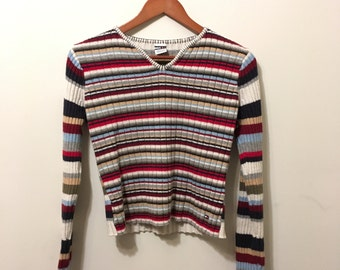 Vintage Tommy Hilfiger Ribbed Multicolored Striped Sweater