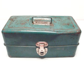 Antique Tackle Box. Money Box, Liberty Steel Chest Rochester n.y Storage box