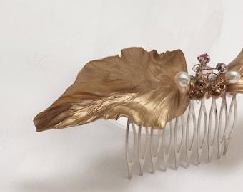 Golden Leaf Comb-headdress-Tiara-Romantic style-headdress of flowers and leaves-golden leaves-weddings and parties-Greek style-elegant