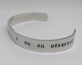 I Am Inimitable, I Am An Original Hamilton Hand-stamped Aluminum Cuff Bracelet