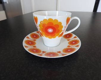 Hackefors/Sweden POP - Set of 2, coffee cup and  saucer/mid-century modern