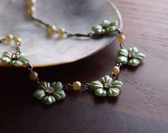 Vintage 1940s Mint Green Floral Necklace with Faux Champagne Pearls