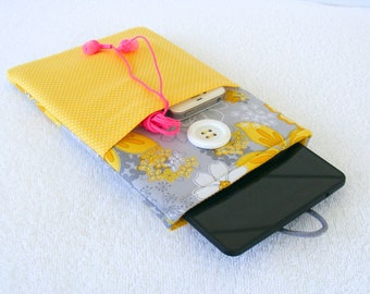 "IPad Mini Case, Kindle Fire Case, IPad Mini Cover, Kindle Fire Cover, Nook Case, Kindle Fire 7 Case, Grey Yellow Flowers, 8 1/2"" x 5 1/2"""