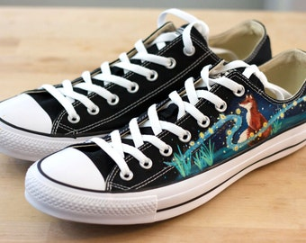 Red Fox and Fireflies Custom Converse - Hand-Painted