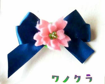 Ribbon with cherry hair clips