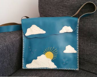 "Handmade bag ""after the rain, the fine weather"" unique leather."