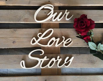 Wedding table decoration Our Love Story wood sign for wedding table decoration wedding sign Our Love Story gold silver glitter