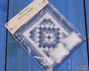 Brand New Miniature Heirloom Quilt Blue Floral With Lace Pillows 1/12 Scale