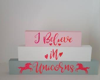 Handmade, I believe in unicorns blocks
