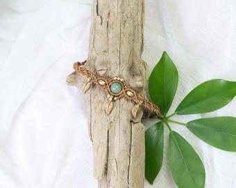 macramé bracelet with aventurine and brass leaves