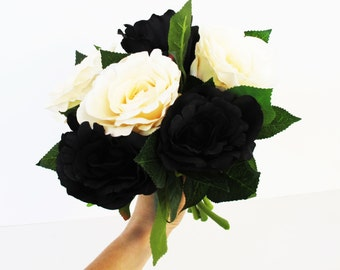 6 Silk Black Creamy Roses Rose Bouquet Artificial Silk Flowers Green Leaves Black Blossoms Flower Wedding Bouquets Decoration Decor Spring
