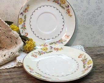 Paden City Pottery Co Floral Saucers/Set of Two/USA