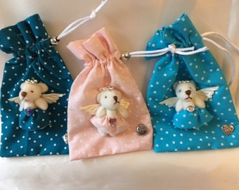 scented pouch spotted fabric decorated with mini angel bear