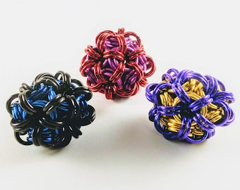 Juggling Balls/Fidget Balls/Dodecahedrons Chainmaille Handmade Shiny Anodized Aluminum