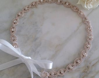 Rose Gold Bride Headband/Bridesmaid Headband/ Flower Girl Headband/ Rhinestone Sparkle Crystal Wedding Headband/ Tieback Hairband