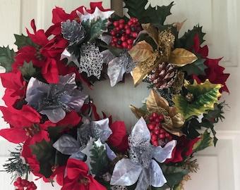 Small Poinsettia Christmas Wreath