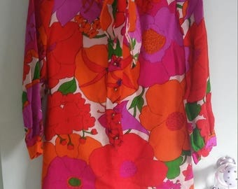 60s vintage floral dress with tie neck and peter pan collar