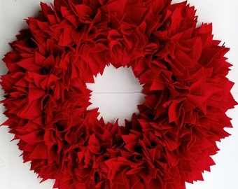 23-Inch Red Felt Wreath, Front Door Wreath, Shabby Wreath, Rag Wreath, Summer Wreath, Red Wreath