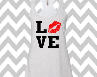 Love Lips Kiss Tank Top Valentines Day Clothing Exercise Tank Wine Tee  Lipstick Cute Womens Gym Tank  Valentines Shirt