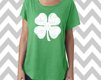Shamrock Tee St. Patrick's Day Tee Dolman Off the shoulder flowy tee Funny Shamrock Tee Drinking Shirt Clover Shirt Pub Crawl Lucky Tee