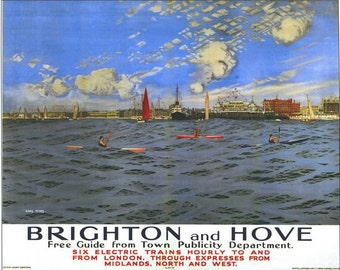 Vintage Southern Railway Brighton and Hove Poster A3/A2/A1 Print