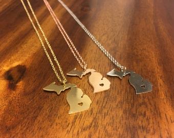 Michigan Necklace - Michigan Pendant - Michigan Charm - Michigan Outline - Michigan Jewelry - Michigan - Mich Jewelry - Mich