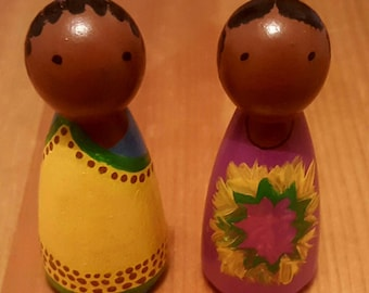 African Peg dolls. Handas Surprise pegs