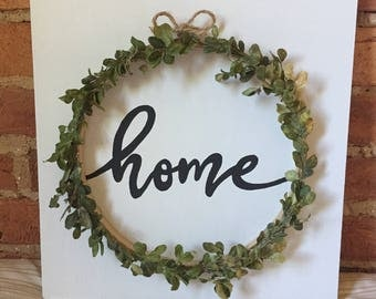 Hand Painted Home Sign with Boxwood Wreath
