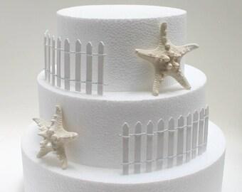 Miniature Wedding Cake Fence, Starfish Wedding Cake, Beach Wedding Cake Fence, Picket Fence, Wedding Cake, Fence Wedding Cake,