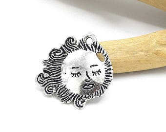 charms Sun face 20mm silver metal Lot of 2/4/6/8/10 units
