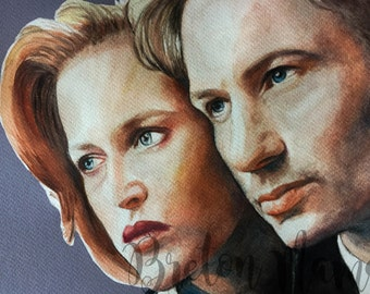 X Files - Agent Mulder and Scully A4 Print - I Want to Believe