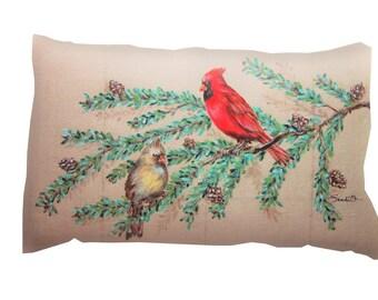 CARDINAL PILLOW COVER, Hand Painted Decorative Pillow, Bird Pillow, Christmas Decor